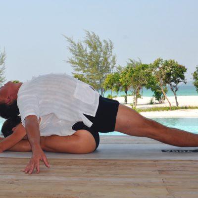 partner yoga, fold and backbend stretch