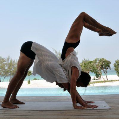 partner yoga, scorpion-on-dog pose